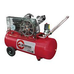 Компрессор 100 л, 4 HP, 3 кВт, 220 В, 8 атм, 500 л/мин, 2 цилиндра PT-0014, INTERTOOL