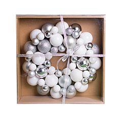 Венок декоративный, 34 см, с шариков, пластик, микс цветов: белый и серебро, Jumi