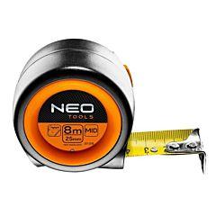 Рулетка, стальная лента с фиксатором selflock и магнитом, NEO Tools
