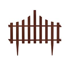 Набор ограждение для газона Заборчик, 4 штуки, темно-коричневый, Алеана