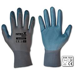 Перчатки защитные NITROX GRAY нитрил, Bradas