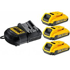 Зарядное устройство и 3 аккумулятора DCB183 2Ач DCB115D3, DEWALT