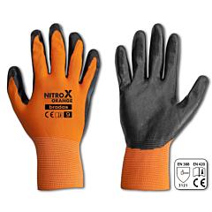 Перчатки защитные NITROX ORANGE нитрил, Bradas