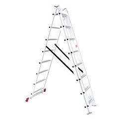 Лестница алюминиевая 3-х секционная универсальная раскладная 3x8 ступ. 5,09 м, LT-0308, INTERTOOL