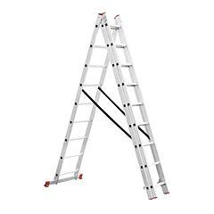 Лестница алюминиевая 3-х секционная универсальная раскладная 3x9 ступ. 5,93 м, LT-0309, INTERTOOL