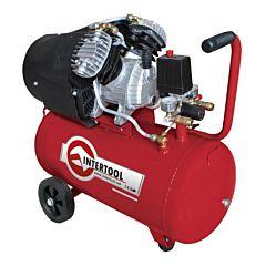 Компрессор 50 л, 3 HP, 2,23 кВт, 220 В, 8 атм, 354 л/мин, 2-х цилиндровый PT-0004, INTERTOOL