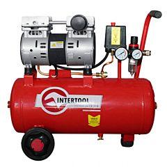 Компрессор 24 л, 1,5 HP, 1,1 кВт, 220 В, 8 атм, 145 л/мин, малошумный, безмасляный, 2 цилиндра PT-0022, INTERTOOL