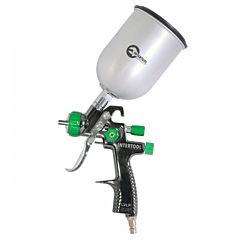 LVLP GREEN NEW Профессиональный краскораспылитель 1,3 мм, верхний металлический бачок 600 мл PT-0131, INTERTOOL